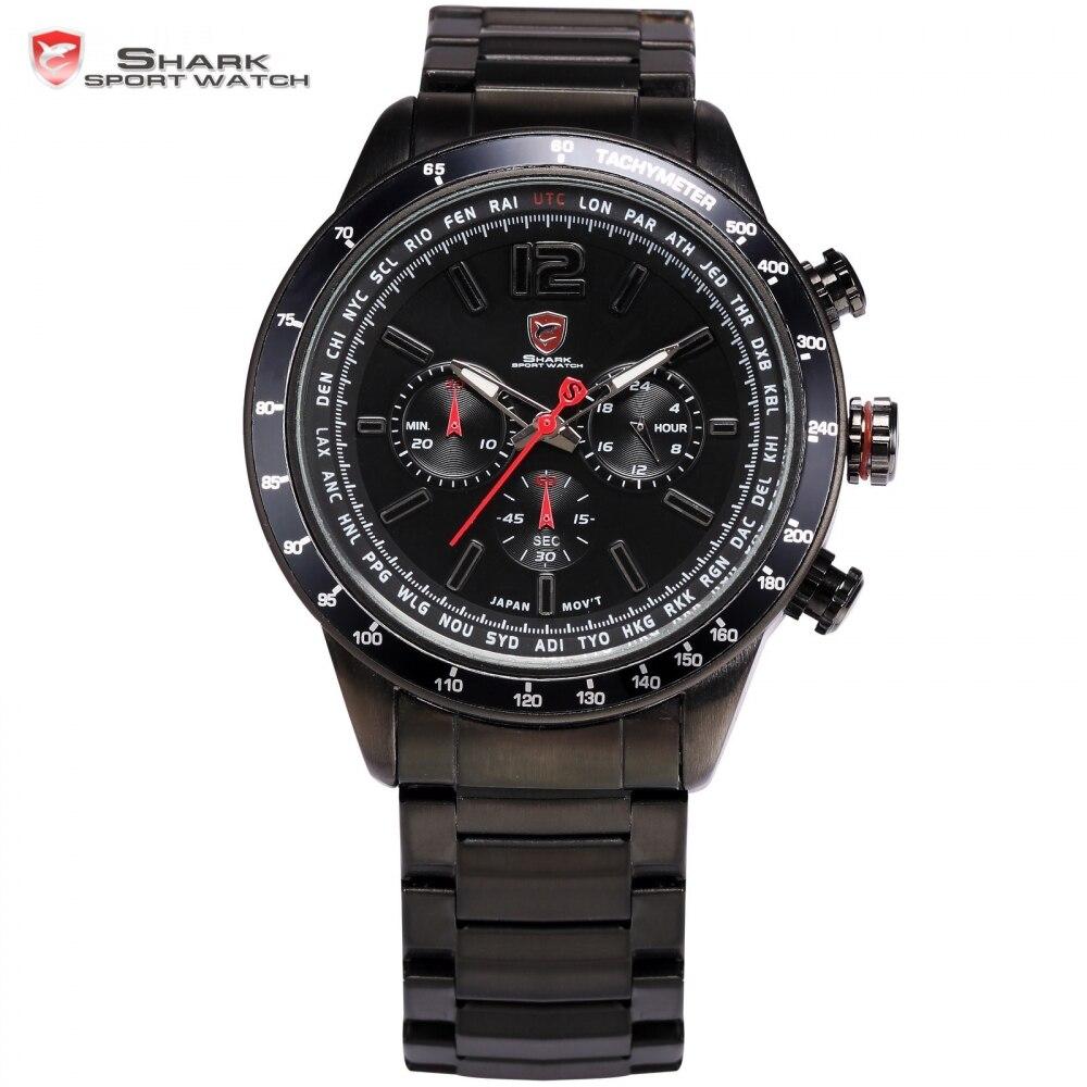 Pacific Angel Shark Sport Watch Chronograph Relogio Black Red Full Steel Strap Clock Military Men Quartz Wristwatch Gift / SH315