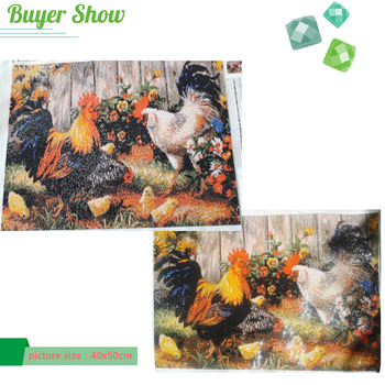Diamond Embroidery Painting Cross Stitch Cock Rooster Animal Picture Rhinestones Christmas Gift Full Square Diamond