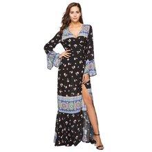 6ec7c487d90c Новая Европа eBay Amazon 2018 Для женщин одежда новые летние принты Труба  рукава платья внешней оптовая