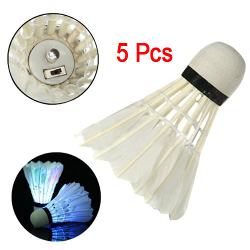 Super sell  5*Dark Night LED Badminton Shuttlecock Birdies Lighting