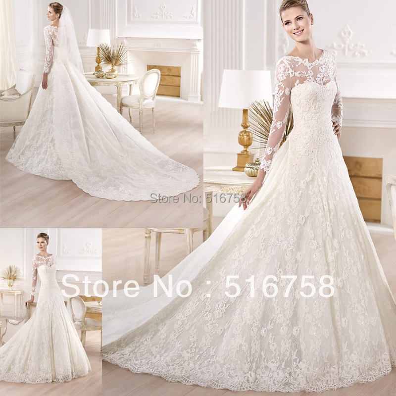 Detachable Cathedral Train Wedding Gown: 2015 Princess Ball Gowns Wedding Dresses Detachable