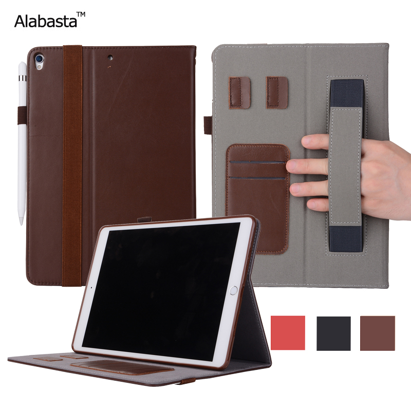 Alabasta For iPad Pro 10.5 Case Upscale Genuine Leather Surface + Silicone Protector Flip Stand Card Pouch Cover With stylus alabasta cover case for apple ipad air1