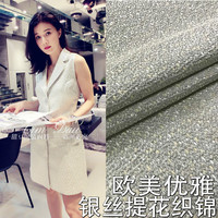 Big custom jacquard fabric silver jacquard brocade clothing fabric / spring and autumn dyed dress fashion fabric