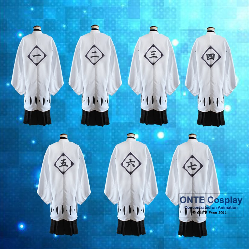 Hot Anime Bleach Cosplay Costumes Capes 1st to 11th 12th 13th Division Captains Cloaks with Sleeve Coat Halloween Clothes