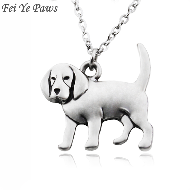 Fei Ye Paws Women Necklace Punk Beagle & Coonhound Dog Charms Pendant Necklaces Collar Stainless Steel Long Choker Girl Jewelry