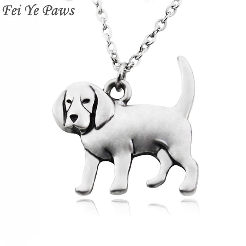 Fei Ye Paws Mujeres Collar Punk Beagle & Coonhound Dog Charms Collares pendientes Collares Collar largo de acero inoxidable Gargantilla Joyas para niñas