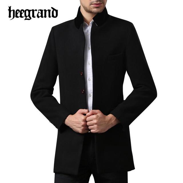 HEE GRAND 2017  Men Winter Business Wool Blends Fashion Patchwork Mandarin Collar Cashmere Trench Coats MWN229