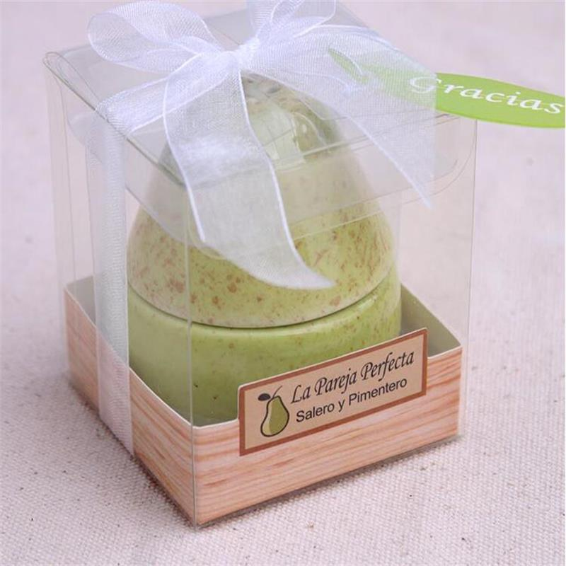 100pcs New Wedding Favor Ceramic Pear Salt And Pepper Shaker The