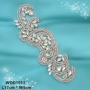 (30PCS) Wholesale silver crystal rhinestone applique patch iron on for wedding dress WDD1011