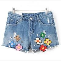 Women Denim Shorts For Summer S-XL Summer 3D Flower Embroidery Designer Women's Short Jeans Femininos Denim Shorts Cheap S519