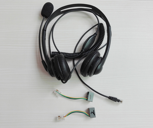 22f5037fa43 NEW Professional RJ11 plug monaural call center telephones headset phone  headphones mic with 2 adapters for all telephones-in Headphone/Headset from  ...