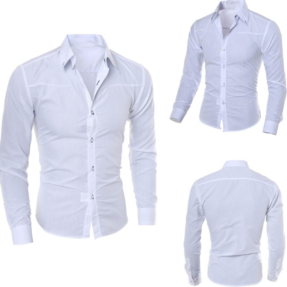 Muqgew Man Long Sleeve Shirts Silk Satin Chemise  Casual Fit Fashion Printed Blouse Casual Long Sleeve Slim Shirts Tops #2