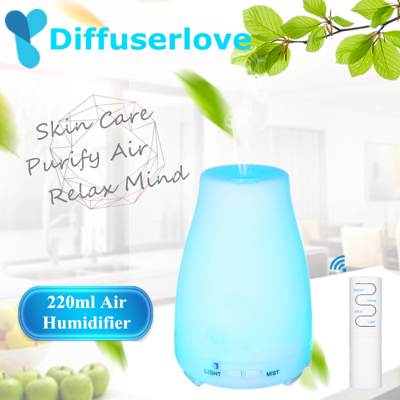Diffuserlove 220ML Ultrasonic Air Humidifier Remote Control Electric Aromatherapy Essential Oil Diffuser With LED Light Diffuserlove 220ML Ultrasonic Air Humidifier Remote Control Electric Aromatherapy Essential Oil Diffuser With LED Light