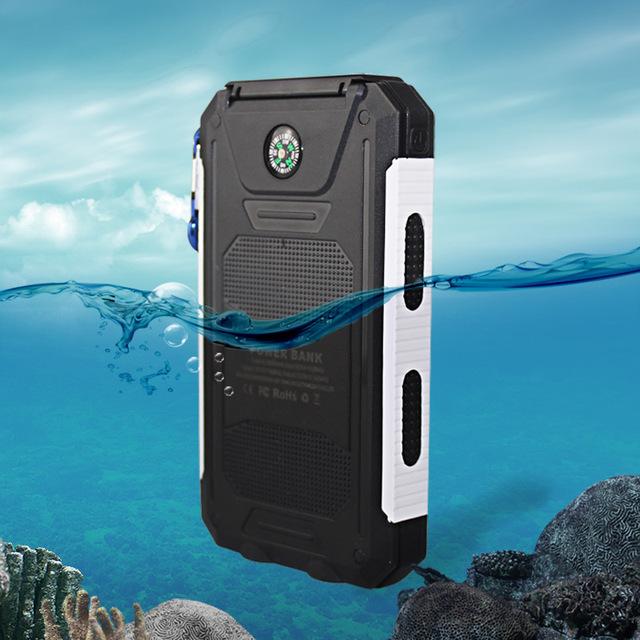 10000 mah viagem à prova d' água carregador solar 2 usb power bank carregador portátil de bateria externa para iphone samsung com bússola sos