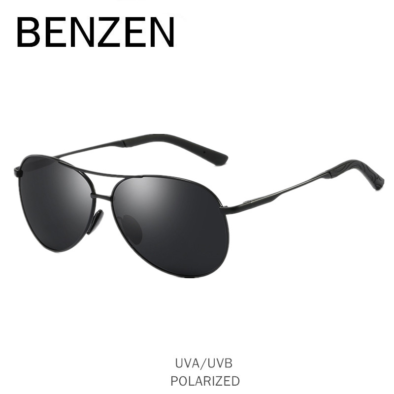 BENZEN Aviation Sunglasses Men Vintage Polarized Sun Glasses Male Glasses For Driving Classic Shades New Black With Case 9295