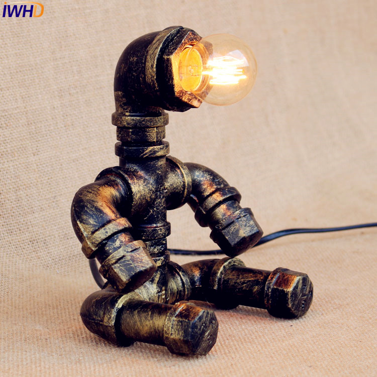 IWHD Little Boy Water Pipe Table Lamp Vintage Bedroom Living Room Industrial Beside Desk Lamps Lamparas Luminaria De Mesa