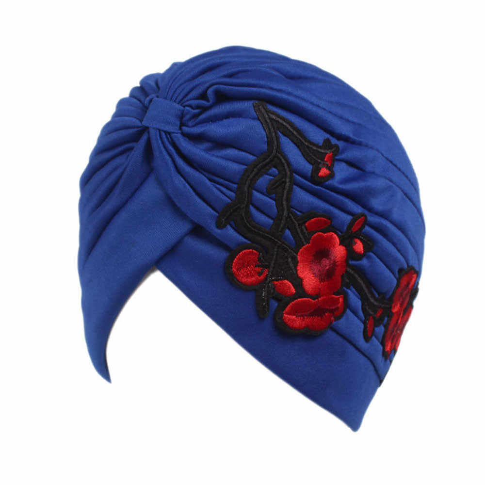 6ece92ded91 ... NewTop Quality Women Embroidery Cancer Chemo Hat Beanie Scarf Turban  Head Cap hats for women beret ...