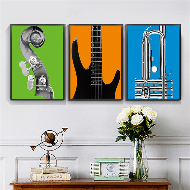 Haochu Modern Music Instrument Cool Guitar Canvas Painting Coffee