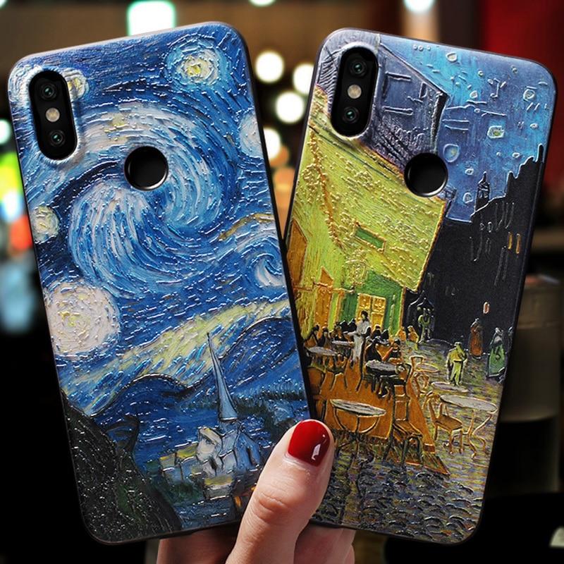 3D Relief Lotus Case For Xiaomi Mi A1 A2 8 Lite 9 5X 6X for Redmi 4X S2 5A Plus 4A 6A 6 Pro Note 4X 3 5 7 TPU Painting Fundas
