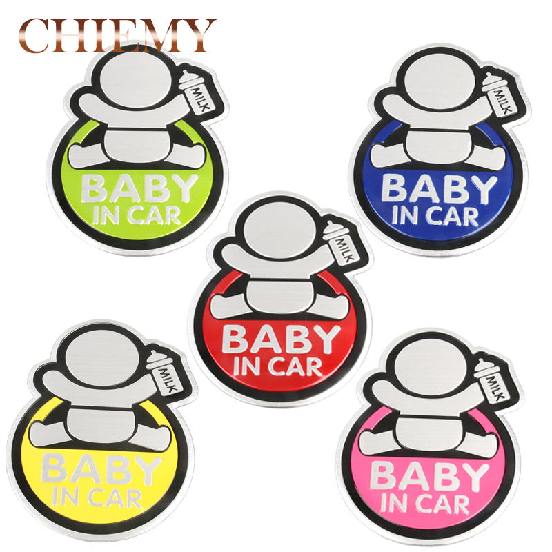3D Aluminum Cartoon Car Stickers Baby In Car Warming Sticker Baby In Car Badge Emblem Board On Rear Windshield Car Decoration