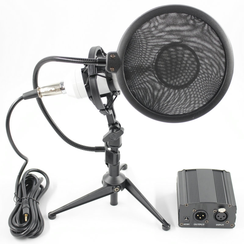 Hot Professional full set of meals BM 8000 Condenser microphone+48v phantom power+Desktop Stand Recording studio microphone professional condenser microphone bm 800 bm 800 cardioid pro audio studio vocal recording mic 48v phantom power usb sound card