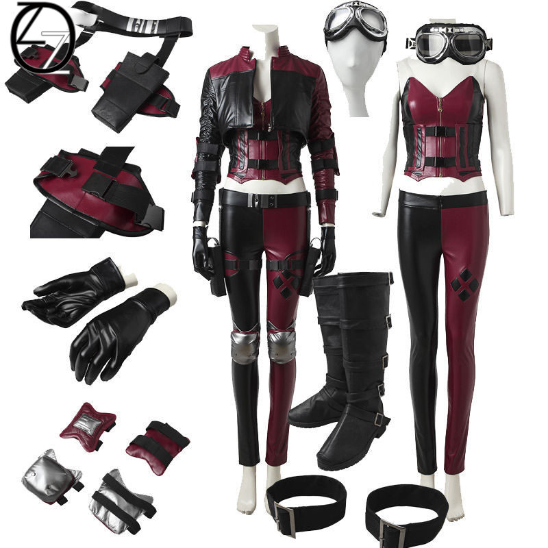 Game Injustice 2 Harley Quinn Cosplay Costume Women fight Suit PU leather Clown Fancy Dress Adult Halloween Outfit Custom Made soccer balls size 4