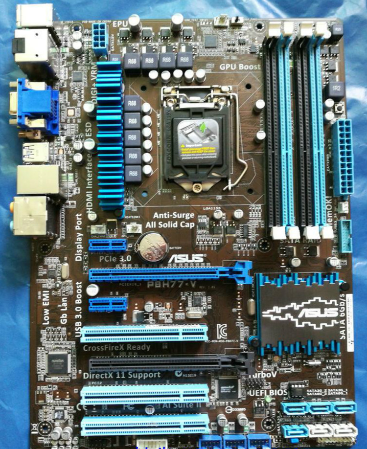 Used,for Asus P8H77-V Motherboard H77 LGA 1155 22nm i3 i5 i7 DDR3 32G SATA3 USB3.0 ATX On Sale