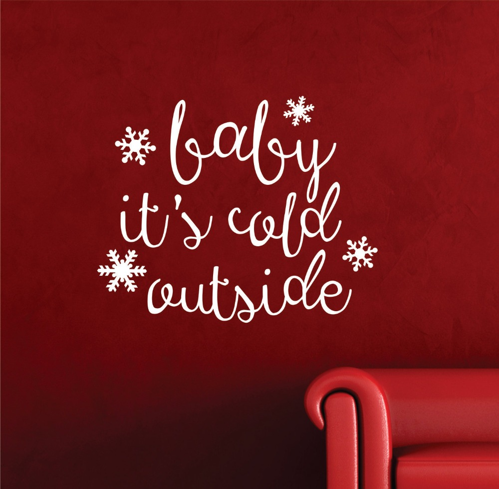 US $5.15 34% OFF|Baby It\'s Cold Outside Quotes Wall Stickers Merry  Christmas Home Decor Kids Room Snowflake Wall Decal Vinyl Sticker Murals S  8-in ...