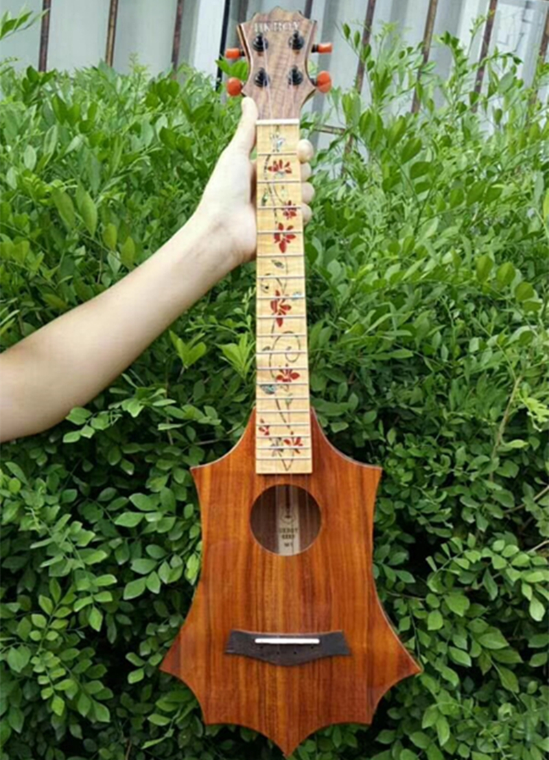 Haute qualité professionnel 26 pouces ukulélé ténor acacia tout bois massif KOA guitare ukelele bovin os écrou importé cordes lumineuses