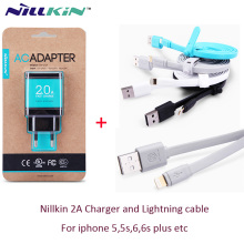 Original Nillkin 5V 2A  Fast Speed EU Charger and nillkin Lightning port cable for iphone 5 5S SE 6 6S plus ipad