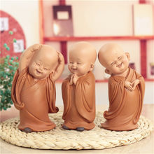 Little Monk Sculpture Chinese Style Resin Hand-Carved Buddha Statue Home Decoration Accessories Gift Statue Small Buddha Statue(China)