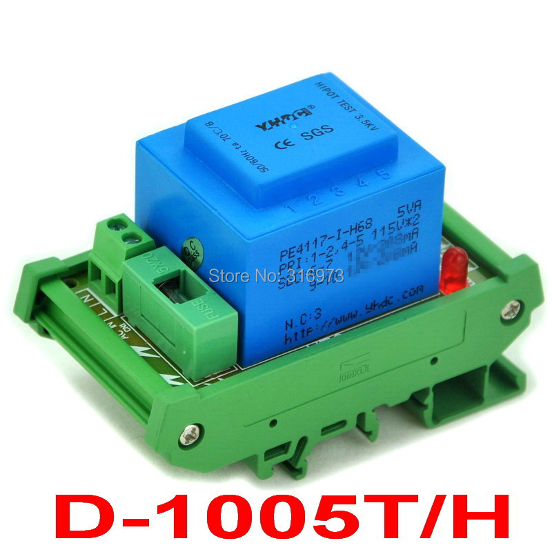 P 115VAC, S 2x 15VAC, 5VA DIN Rail Mount Power Transformer Module,D-1005T/H.