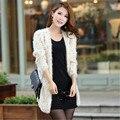 Las mujeres de la Rebeca Corta Ocasional Moda Otoño Abrigo de Invierno de Color Sólido Suéter de Punto Prendas de Punto Nuevos Suéteres de Moda