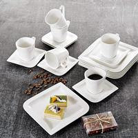 MALACASA Joesfa 18 Piece Porcelain China Ceramic Tea Coffee Cups&Saucers Sets with 6 Piece Cups,Saucers and Dessert Plates