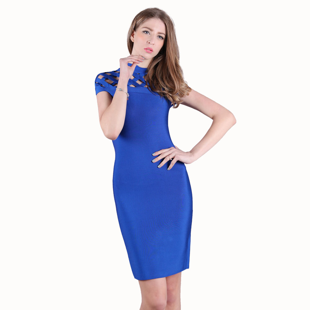 KLEEZY SALE Super Discount Club Night Dresses Clubwear Sexy Dress Women Short Sleeve Hollow Out Bandage Bodycon Dress HL1558(China)