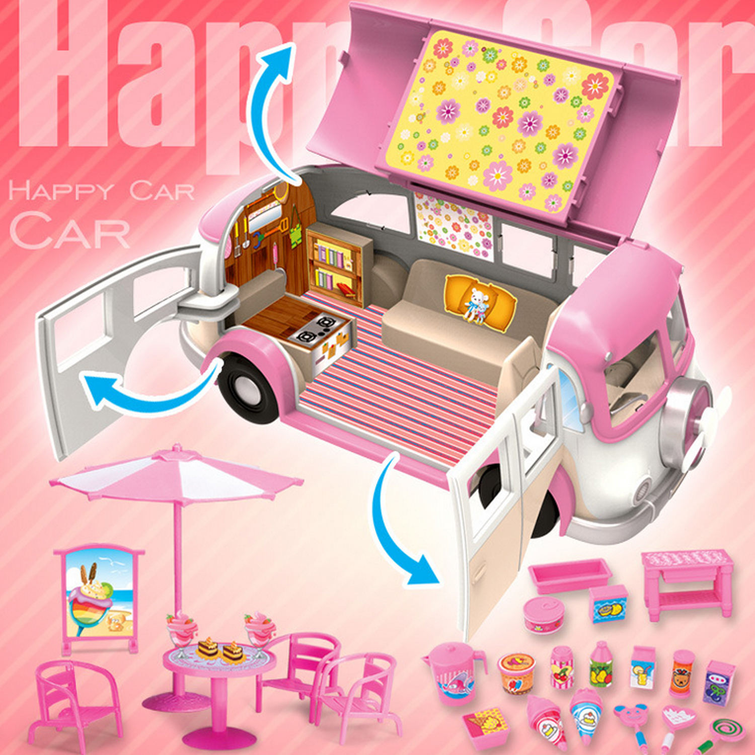 Kids Cute Mini Simulation Plastic Pink Motorhome Camper Car Vehicle Dollhouse Furniture Accessories Pretend Play Toy