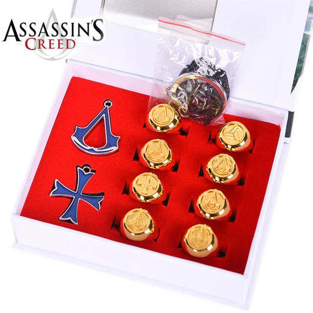 3 estilos de Animação Assassins Creed Colar Anéis Presente Encaixotado Figuras de Ação Brinquedos Modelo Frete Grátis