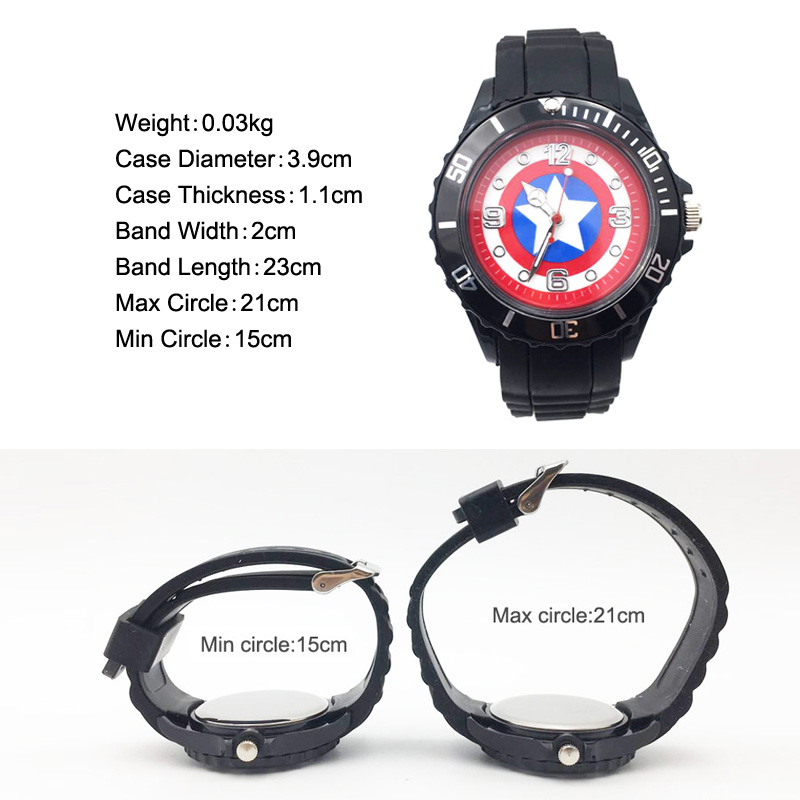 The Avenger Captain America students watches quartz wrist watch for kids cool boys clock black pu strap drop shipping (18)