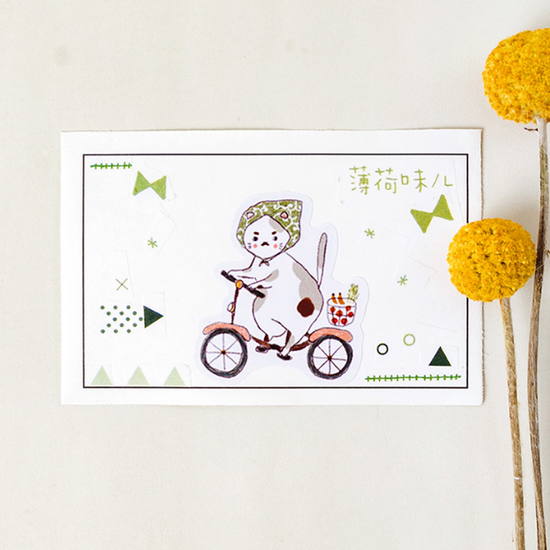 Купить с кэшбэком 45Pcs/box Cute Fat cat life diary Mini Decoration Paper Sticker DIY Scrapbook Notebook Album Kawaii Sticker Stationery