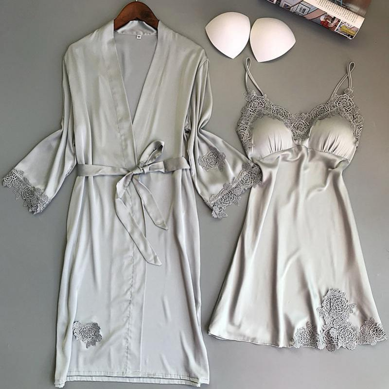 Female Twinset Robe Set Summer Sleepwear Lace Nightgown Sexy Satin Kimono Bathrobe Bride Bridesmaid Wedding Dressing Gown M-xl