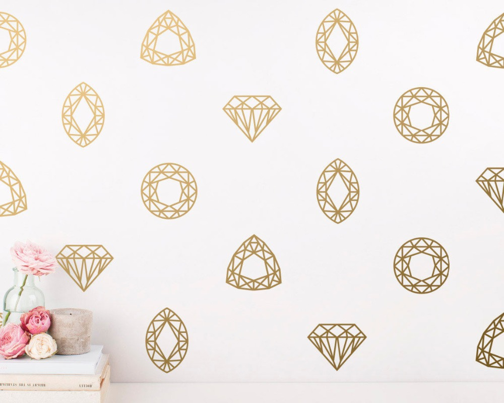 Us 6 88 26 Off Geometric Wall Decals Modern Jewel Diamond Sticker Kids Room Bedroom Nursery Unique Home Decor Vinyl Murals A829 In