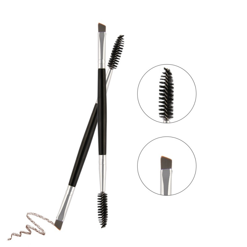 Double Head Synthetic Hair Plastic Handle Pro Eyebrow & Eyelash Brush Cosmetic Makeup Br ...