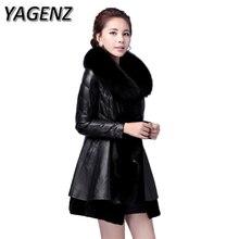 YAGENZ2017 Winter PU Leather Faux Fur Women Black Jacket Coat Slim Medium long Luxury Fur collar Faux Fur Overcoat Plue size 6XL