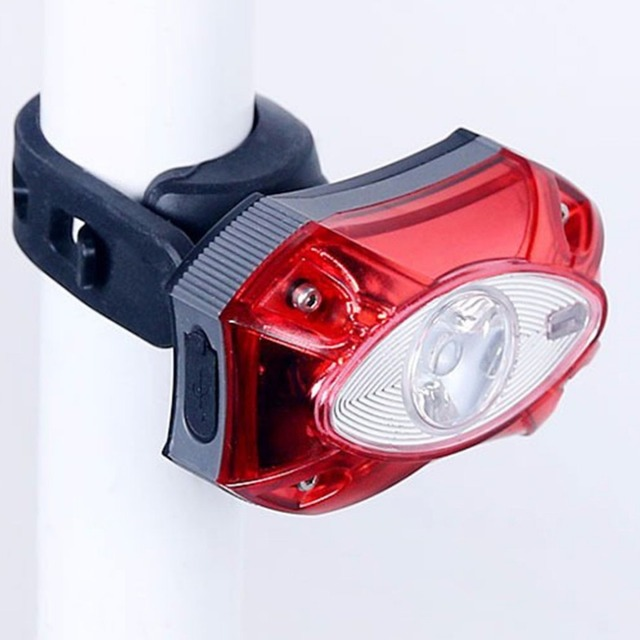 USB Rechargeable Universal Bicycle Visual Signal LED Safety Warning Flashlight Rear