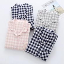 100% Cotton Long-sleeved Gauze Couple Pajamas Summer Plaid Pijama Loungewear Women and Men Pyjamas Sleep Wear Set Home Clothes