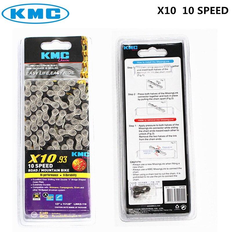 KMC X8 X9 X9sl X10 X10sl X11SL Super léger double X chaîne 9 10 11 vitesses vtt route vélo chaîne titane or couleur argent