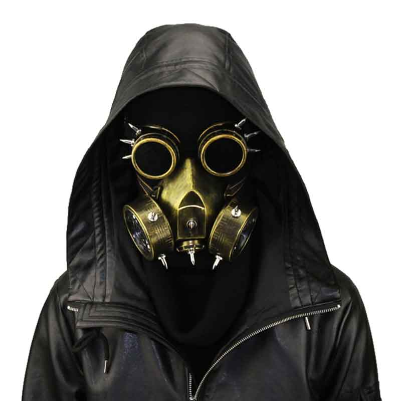 Men's Costumes Fashion Pu Leather Inside Breathable Double Net Cool Men Masks Steampunk Classic Black Gas Mask Gothic Cosplay Punk Rave S-270 Costume Accessories
