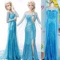 Nieve Elsa Reina atractiva de Las Mujeres Vestido de Lujo del Partido de Cosplay Vestidos Vestido de las mujeres maxi vestido azul vestido largo ropa de mujer sexy