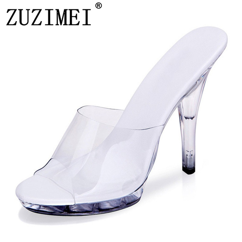 Sexy Women High Heels 12cm Summer Woman Transparent Crystal Shoes Sandals Slippers Big Size 34-43 Thin Heel Flip Flops big size 34 43 fashion womens shoes 7 5cm high heel slippers summer solid concise lady sandals square heels female flip flops