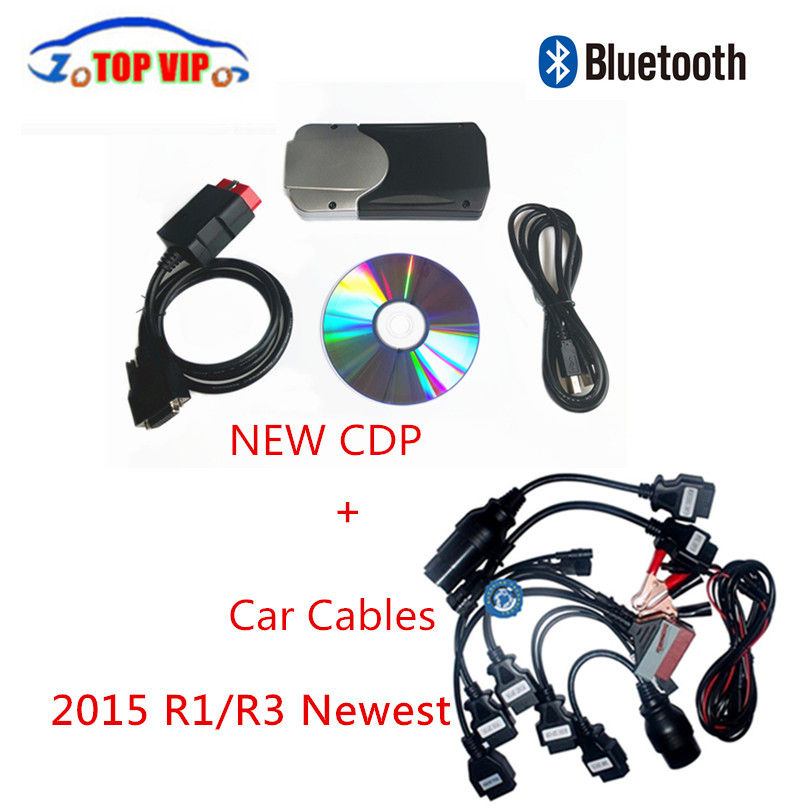 2015 R3 keygen New CDP Super tcs pro cdp TCS  Bluetooth + 8pcs Car Cables Full Set Auto OBD2 OBDii diagnostic- tool Scanner single green board multidiag pro 2014 r2 keygen